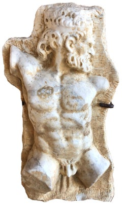 Carrera Marble Italian hand-sculpted Hercules Bust with iron pedestal