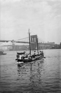 NYC Fishing Boat on the East River, Brooklyn Bridge c.1930