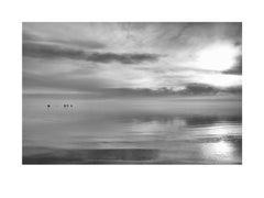 Solitude - contemporary black & white landscape photograph with ocean and clouds