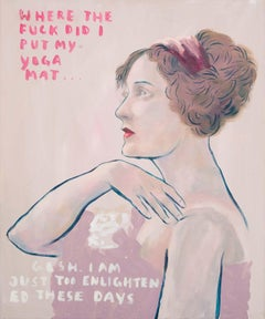 Enlightened - contemporary humorous artwork of female portrait with words
