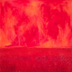 Metaebene XXVII - contemporary red expressionistic oil on canvas painting