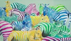 Zebra parade postmodern pop art of colorful zebra animal herd in vibrant colors