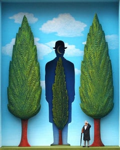 The Garden of Magritte - contemporary art work homage to Belgian surrealist