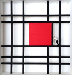 Homage to Mondrian -Shifting- contemporary art work, design tribute Dutch master
