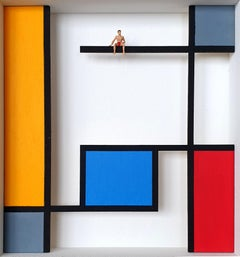 Homage to Mondrian -The Pool- contemporary art work, design tribute Dutch master