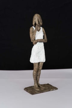 Girl in Mini Dress - contemporary bronze sculpture, nude female with white dress