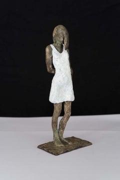 Girl in Mini Dress - contemporary bronze sculpture, female with white dress
