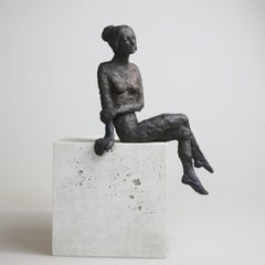 Girl Sitting XI - contemporary bronze sculpture, nude female on wooden block