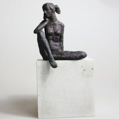 Girl Sitting VIII - contemporary bronze sculpture, nude female on wooden block