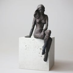 Girl Sitting X -contemporary bronze sculpture, nude female on wooden block