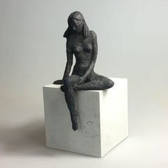 Girl Sitting XIII - contemporary bronze sculpture, nude female on wooden block