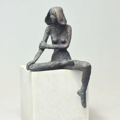 Girl Sitting XIV - contemporary bronze sculpture of nude female on wooden block