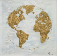 World (Gold) - contemporary artwork depicting globe through swarm of butterflies