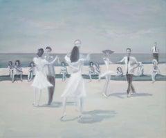 The Latest Balboa - contemporary dance scene on beach, oil, figurative painting