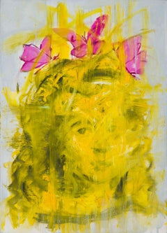 Jeune Miracle (Miracle)- modern oil on canvas portrait of young girl butterflies