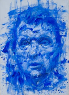Blue Lord - contemporary oil painting, portrait of Francis Bacon in blue