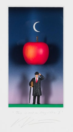 This is not a Magritte II - contemporary art work, tribute to Magritte painting