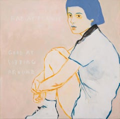 Good at Sitting Around - contemporary  artwork of female portrait with words
