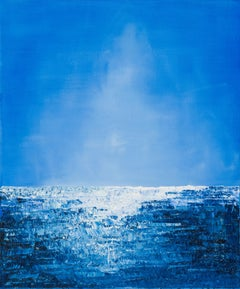 Without Title - abstract expressionist water horizon blue oil painting