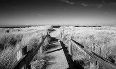 Crossing - contemporary black/white landscape photography with dock to ocean