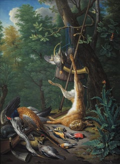 Hunting Still Life With Hare and Birds by Pieter Snyers (circle), Oak Panel