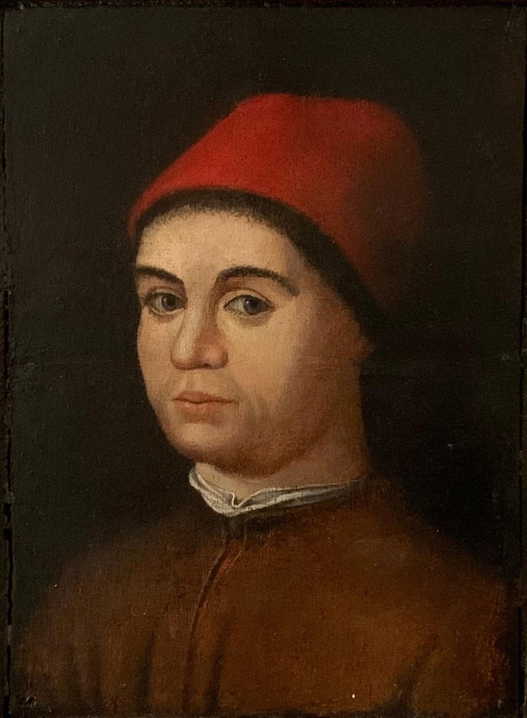 (follower of) Antonello da Messina  Figurative Painting - Portrait of a Man by a Follower of Antonello da Messina, Oil on Panel