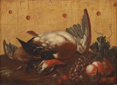 Trompe l'œil With Birds and Fruits by Johan Abraham Aleander, Oil on Canvas