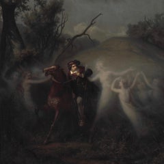 A Nobleman is Lured by Elven Girls by Frederik Storch, Oil on Canvas