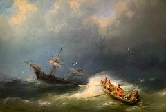 The Rescue by Hermanus Koekkoek, Signed H.K, 1860, Small Marine Painting
