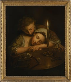 Lovers By Candlelight by Philippe Mercier, Oil on Canvas, Old Master