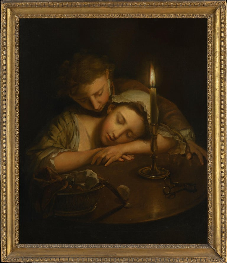 PHILIPPE MERCIER (1689-1760)  LOVERS BY CANDLELIGHT   INTRODUCTION: From princely portraits to everyday life scenes in  the art of Philippe Mercier.  Both in his life and artworks, Philippe Mercier (1689– 1760) reflects many of the dramatic cultural
