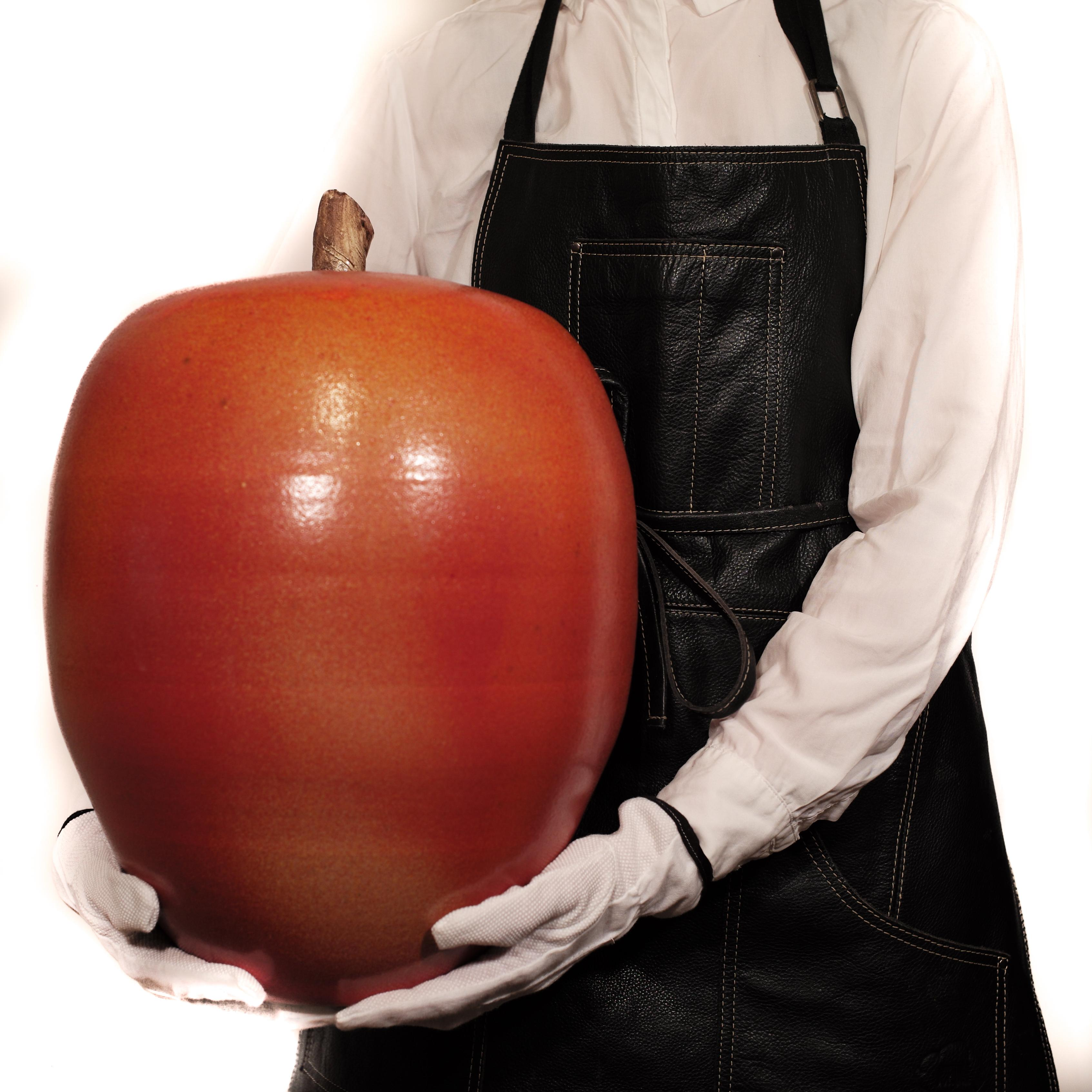 Big Red Apple Sculpture in Stoneware by Kjell Janson, Free Express Delivery