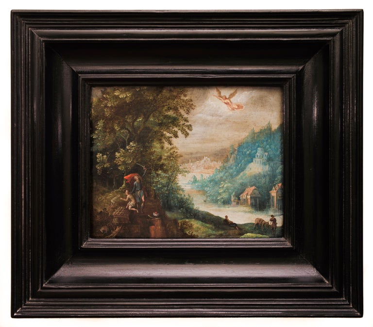 """Artist: Adriaen van Stalbemt (Stalbempt) 1580-1662 Title: Abraham and the sacrifice of his son Isaac """"Das Opfer des Abraham""""  According to the Old Testament, God put Abraham's faith to the test by commanding him to sacrifice his only son Isaac. Just"""