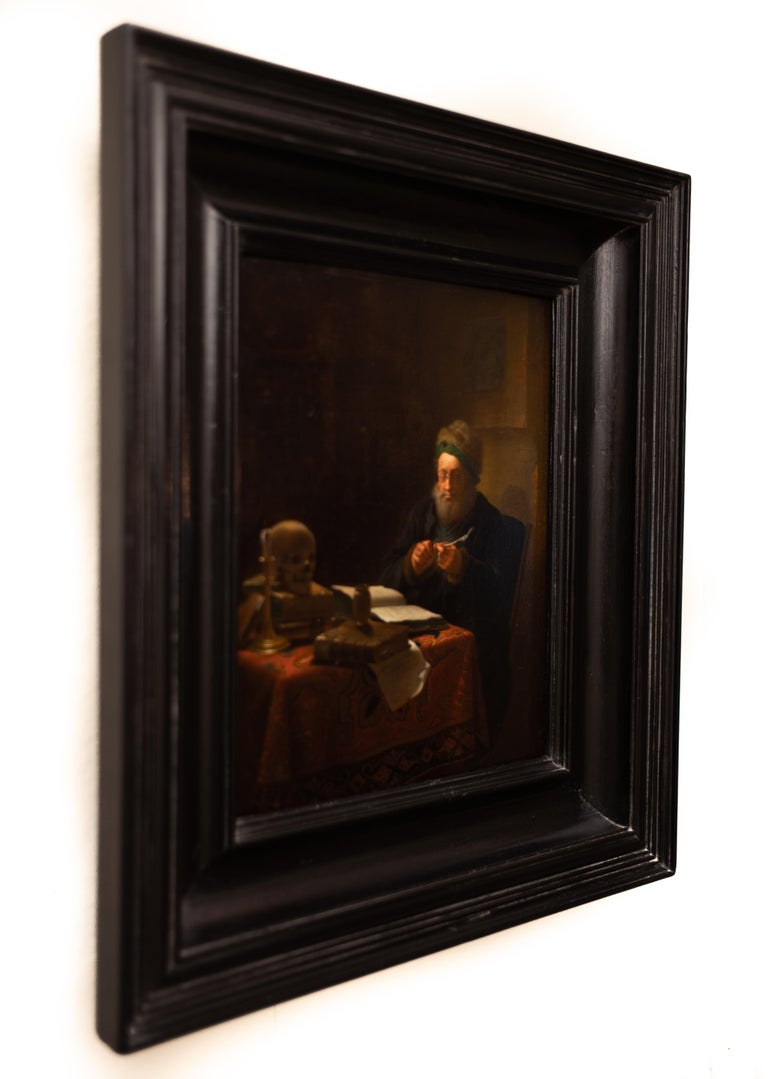 Scholar Sharpening His Quill Penn, Circle of Frans van Mieris II, Oil on Panel For Sale 5