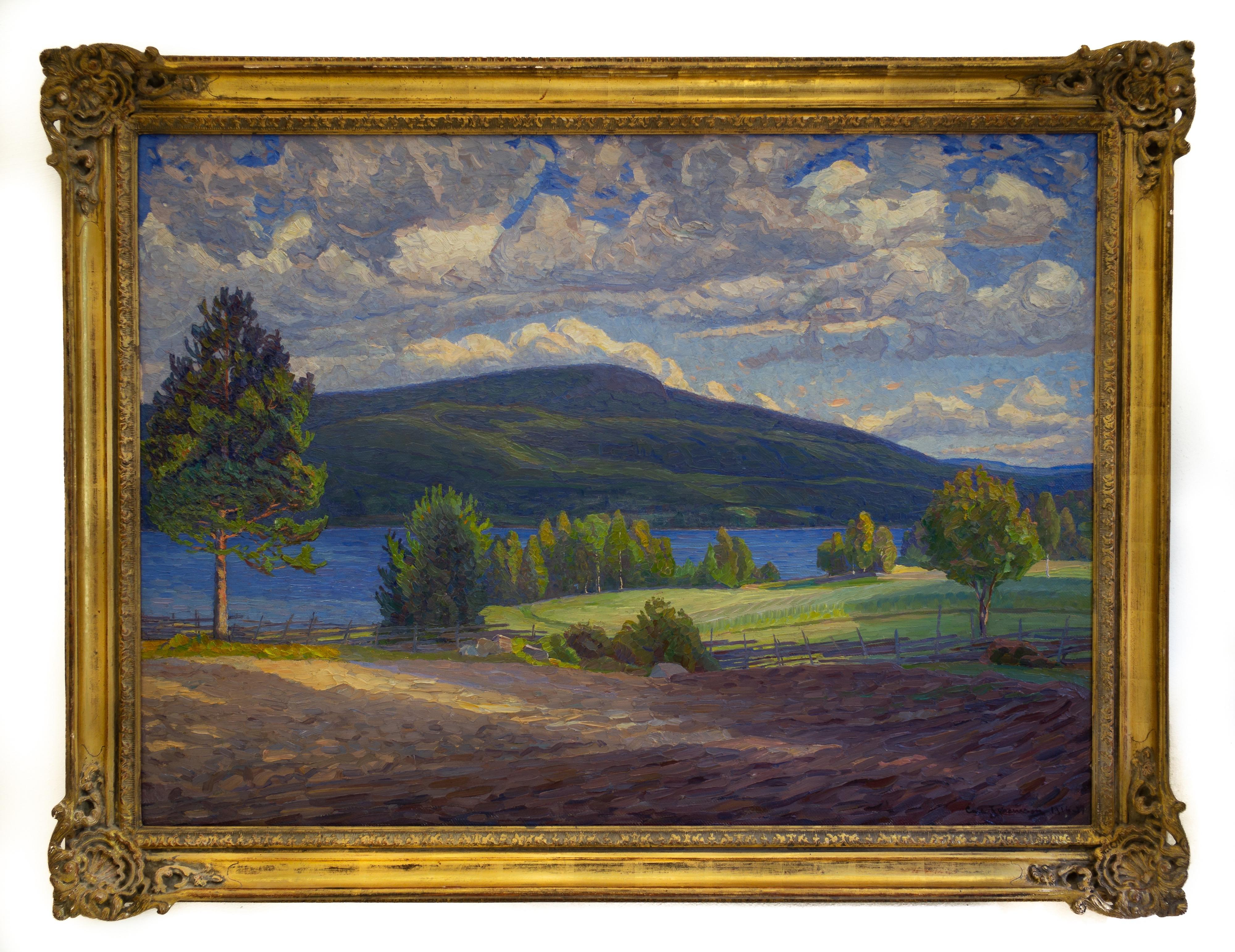 Summer Landscape From Sweden by Carl Johansson, Painted 1916, Oil on Canvas