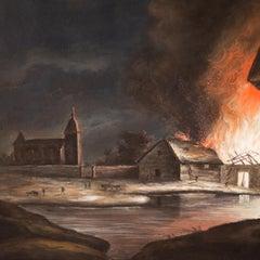 A Nocturnal Fire by Pehr Hilleström, Gouache on Paper