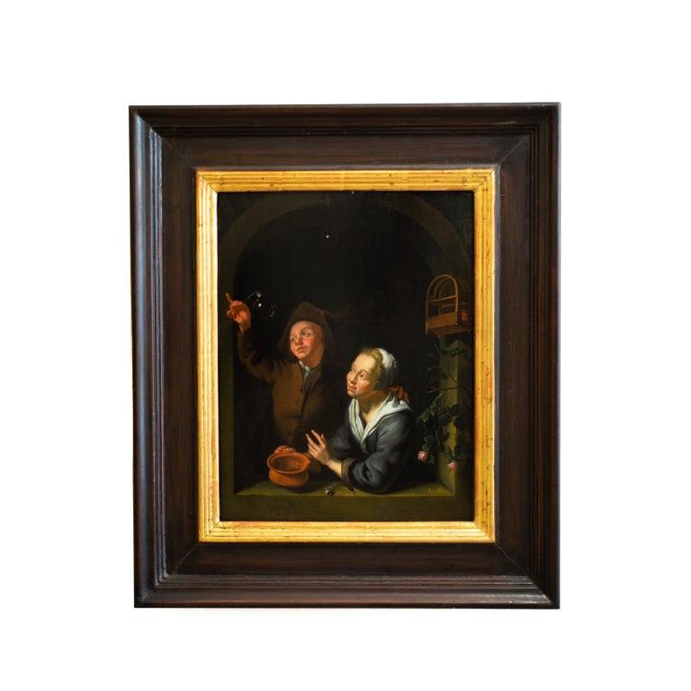 A Young Couple Blowing Bubbles at a Window, Follower of Louis de Moni, Oil Panel - Painting by Louis de Moni