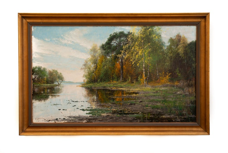 Lakeside Landscape in Autumn Colors by Arvid Mauritz Lindström, Oil on Canvas For Sale 1