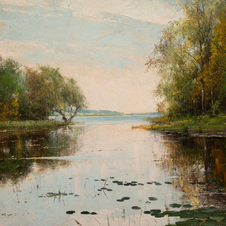 Lakeside Landscape in Autumn Colors by Arvid Mauritz Lindström, Oil on Canvas For Sale 2
