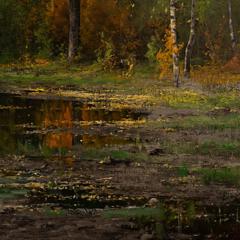 Lakeside Landscape in Autumn Colors by Arvid Mauritz Lindström, Oil on Canvas For Sale 4