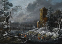 A Winter Landscape With Skaters on a Frozen River, Dirck Dalens III (Circle)
