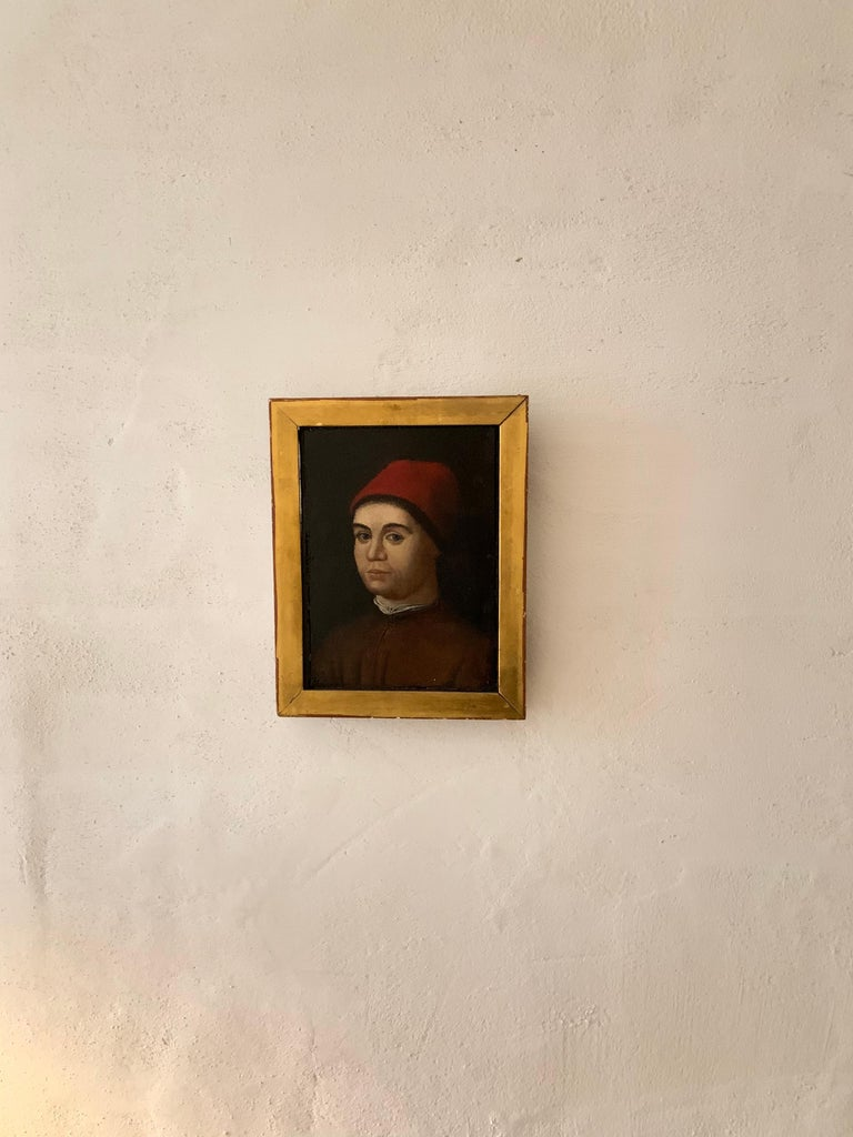 Portrait of a Man by a Follower of Antonello da Messina, Oil on Panel - Old Masters Painting by (follower of) Antonello da Messina