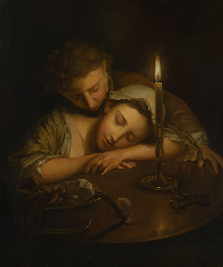 Lovers By Candlelight by Philippe Mercier, Oil on Canvas, Old Master  1