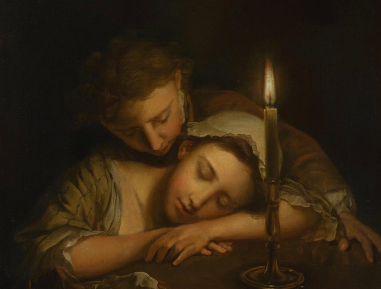 Lovers By Candlelight by Philippe Mercier, Oil on Canvas, Old Master  2
