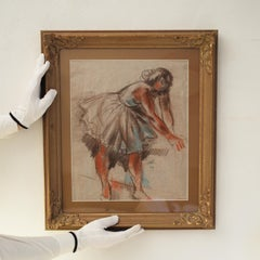 Ballet Dancer by Jules Schyl, Pastel on paper, Similarities with Degas