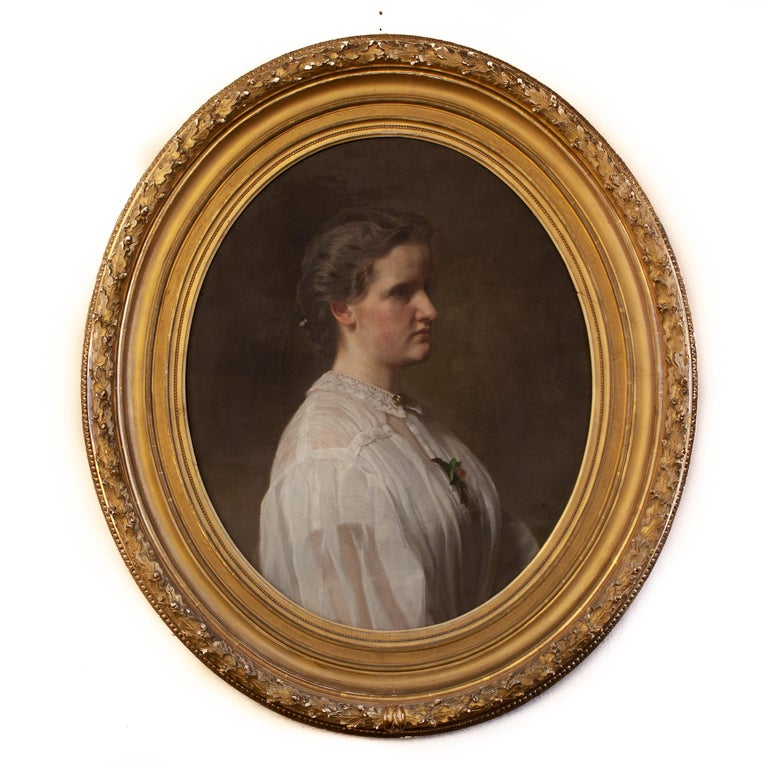 Ferdinand Fagerlin (1825-1907) Sweden  Portrait of Alice Ritter, The Artists Wife  oil on canvas signed with monogram painted 1862 canvas size 27.95 x 22.83 inches  (71 x 58 cm) frame 39.37 x 34.64 inches (100 x 88 cm) frame included.
