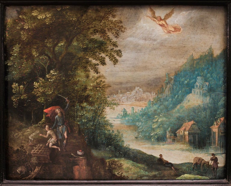 Abraham and the sacrifice of his son Isaac by Adriaen van Stalbemt, c. 1605-1610 For Sale 1