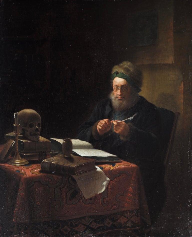 Frans van Mieris II  Interior Painting - Scholar Sharpening His Quill Penn, Circle of Frans van Mieris II, Oil on Panel