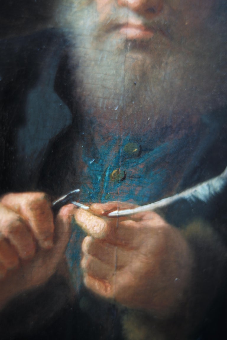 Scholar Sharpening His Quill Penn, Circle of Frans van Mieris II, Oil on Panel - Brown Interior Painting by Frans van Mieris II