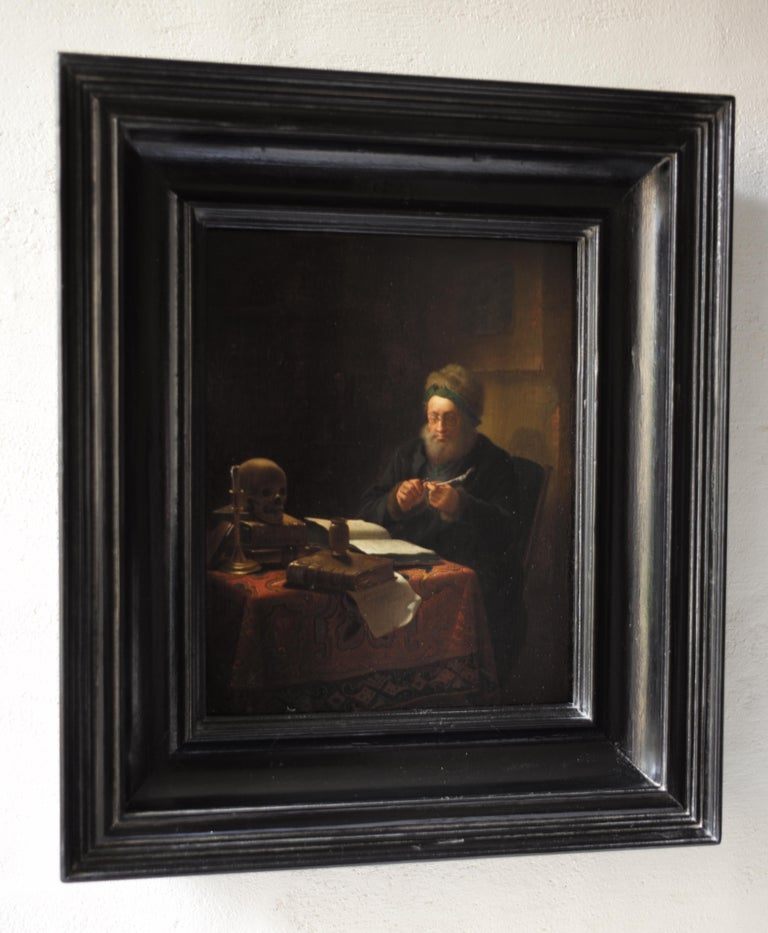Scholar Sharpening His Quill Penn, Circle of Frans van Mieris II, Oil on Panel - Painting by Frans van Mieris II